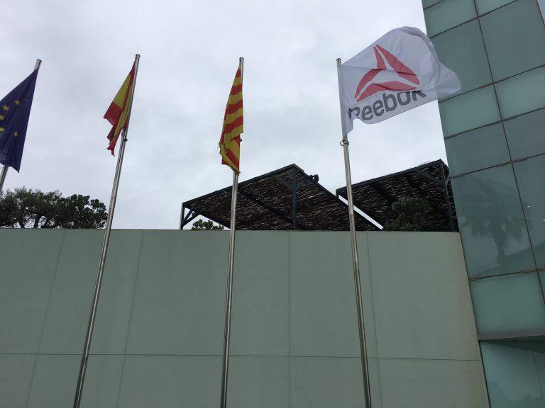 3 digitally printed flag at entrance of W hotel
