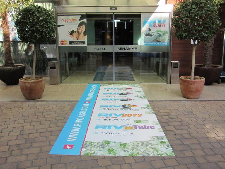 3 printed floormat at Miramar hotel entrance Barcelona